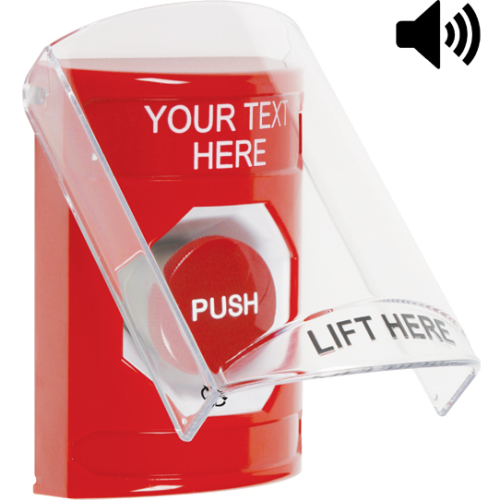 RED TURN TO RESET STOPPER STATION WITH SHIELD AND