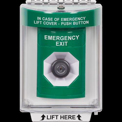 STI SS2138EX-EN Green Indoor / Outdoor Flush Pneumatic (Illuminated) Stopper Station with EMERGENCY EXIT