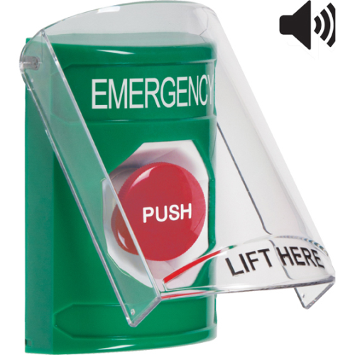 GREEN SS, 6517A SHIELD W/ SOUNDER, MOMENTARY, EMER