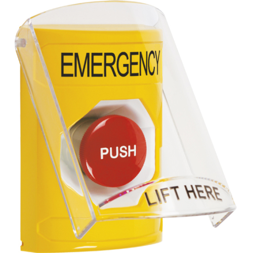 STI SS2224EM-EN Yellow Indoor Only Flush or Surface Momentary Stopper Station with EMERGENCY