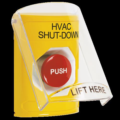 STI SS2224HV-EN Yellow Indoor Only Flush or Surface Momentary Stopper Station with HVAC SHUT DOWN