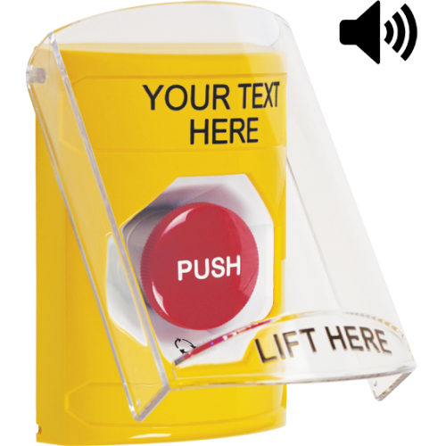 Yellow Stopper Station, Sti-6517a Shield With Soun