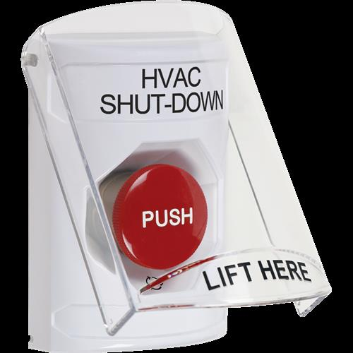 STI SS2321HV-EN White Indoor Only Flush or Surface Turn-to-Reset Stopper Station with HVAC SHUT DOWN