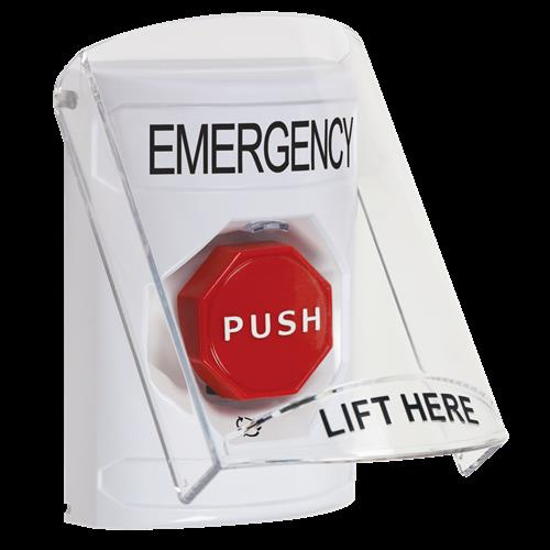 STI SS2329EM-EN White Indoor Only Flush or Surface Turn-to-Reset (Illuminated) Stopper Station with EMERGENCY