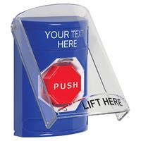 Stopper  Station W/Shield, Blue, Turn-To-Reset Ill