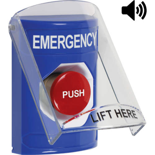 STI SS24A4EM-EN Blue Indoor Only Flush or Surface with Horn Momentary Stopper Station with EMERGENCY