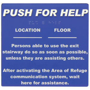 Talkaphone Area of Refuge Self-Adhesive Sign