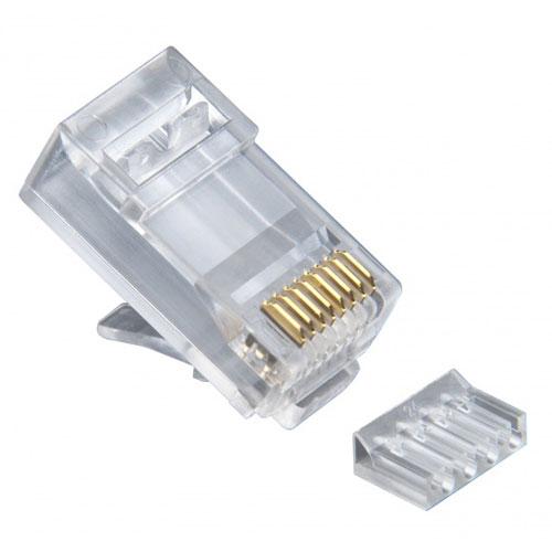 Platinum Tools 106188J Standard CAT6, 2 Piece High Performance RJ45 Connectors,  Round-Solid 3-Prong, 100 Pc Jar
