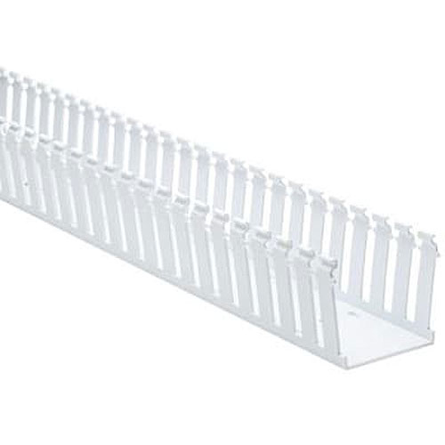 """HellermannTyton 181-33023 Slotted Wall Wiring Duct, 3"""" x 3"""", Adhesive, PVC, White, 30ft/Box"""