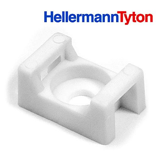 "HellermannTyton CTM410C2 Cable Tie Anchor Mount, .86"" x .62"", .25"" Hole Dia, .31"" Max Tie Width, PA66, White, 100/pkg"
