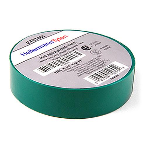 "HellermannTyton ETST665 Electrical Tape, .75"" x 66' Roll, 7.0 mil Thick, PVC, Green, 10 rolls/pkg"