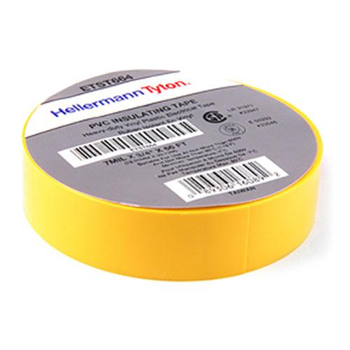 "HellermannTyton ETST664 Electrical Tape, .75"" x 66' Roll, 7.0 mil Thick, PVC, Yellow, 10 rolls/pkg"