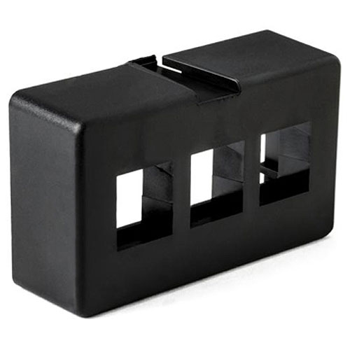 HellermannTyton FPFURN3-BLK Modular Furniture Faceplate 3 Port, PVC, Black, 1/pkg