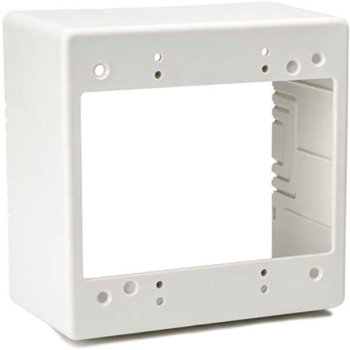 "HellermannTyton TSRFW-JBD2 Dual Gang Junction Box, 2.77"" Deep, 2-Piece, PVC, Office White, 1/bag"