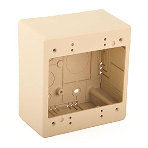 "HellermannTyton TSRI-JBD2 Dual Gang Junction Box, 2.77"" Deep, 2-Piece, PVC, Ivory, 1/bag"