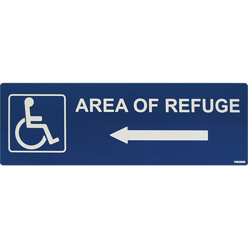 Area Of Refuge Sign Left Arrow Blue