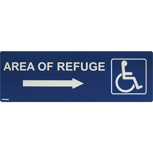 Area Of Refuge Sign Right Arrow Blue