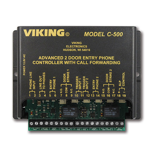 Viking Electronics Two Door Entry Phone Controller with Call Forwarding and Door Strike Controls