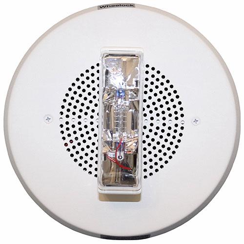 Eaton Wheelock E90H-24MCC-FW E90 Speaker Strobe, High Fidelity, Xenon, Ceiling, White, FIRE, Clear Lens, 15/30/75/95 cd, 25/70V, Indoor