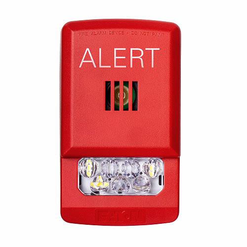 Eaton ELHSR-AL Eluxa horn strobe, LED, Wall, red, Alert, clear lens, 15/30/75/110/135/185 cd, 24V, indoor