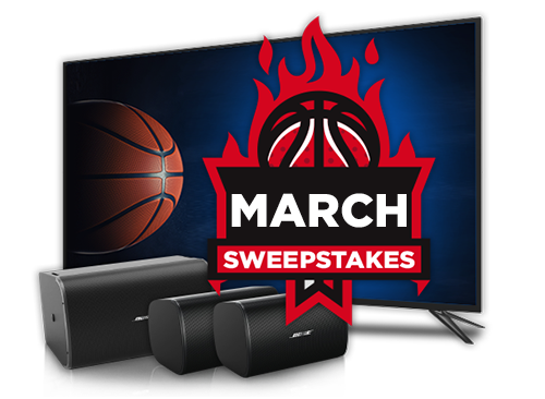 """March Sweepstakes! Enter to win a 65"""" 4K UHD TV and 2 speakers & subwoofer from Bose!"""