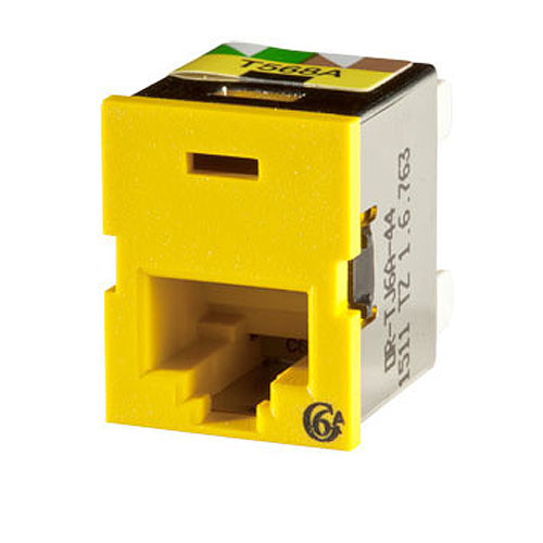 Ortronics Clarity Cat6a TracJack,T568A/B,8 Pos, Yellow 180 Degree