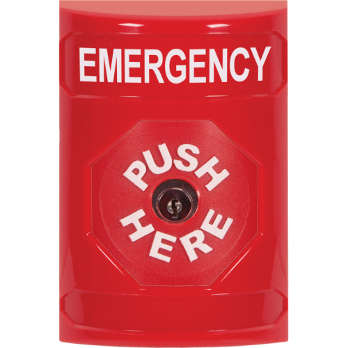 Safety Technology Red Stopper Station, NO Cover, Push And Key-To-Res