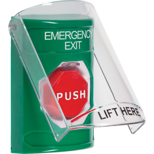Safety Technology Stppr Sta W/Shield, Green, Momntry Illum Bttn