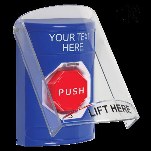 Safety Technology Blue Turn To Reset Stopper Station With Shield/Sou