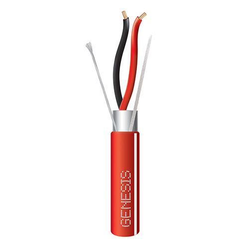 Genesis 4612104W  14 AWG 2C Str Shielded Plenum, Red w White Stripe, 1000 ft. Reel